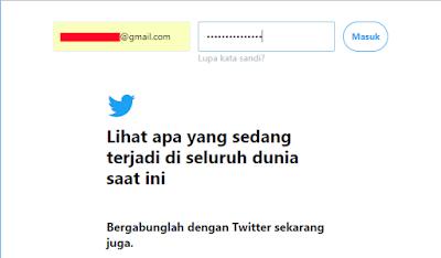 Masukkan Email Dan Password Twitter