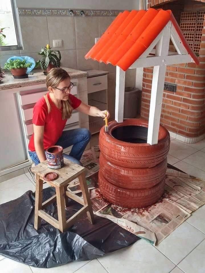 fika a dika por um mundo melhor po o artesanal feito com pneus. Black Bedroom Furniture Sets. Home Design Ideas