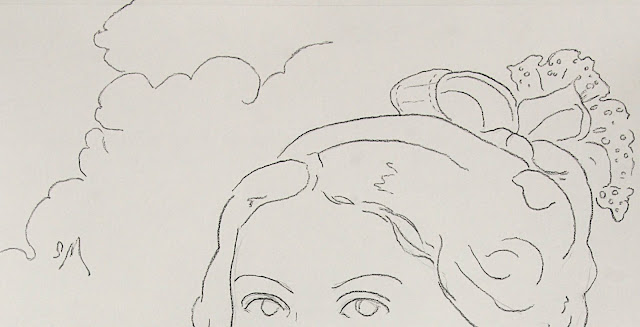 drawing, art, arte, contemporary, sarah, myers, charcoal, simple, style, line, line-drawing, face, fashion, style, dibujo, pearls, ruffles, bows, clouds, portrait, woman, lady, human, figurative, modern, ultracontemporary, sketch, eyes, sky, close-up, detail