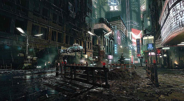 a Syd Mead vision of a future city at night
