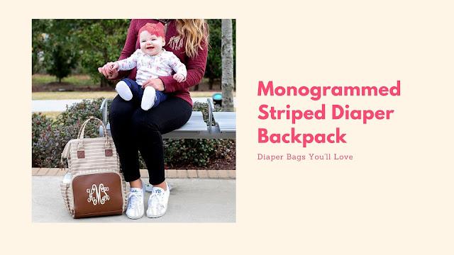 tan stripe monogram diaper bag