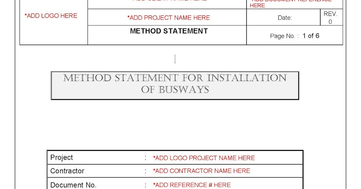 Your Document References Method Statement for Installation of Busways - method of statement