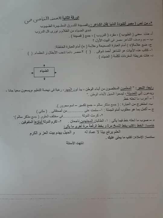 ورق إمتحانات اللغة العربية والخط والإملاء للصف الخامس الإبتدائي ترم أول محافظة الإسكندرية