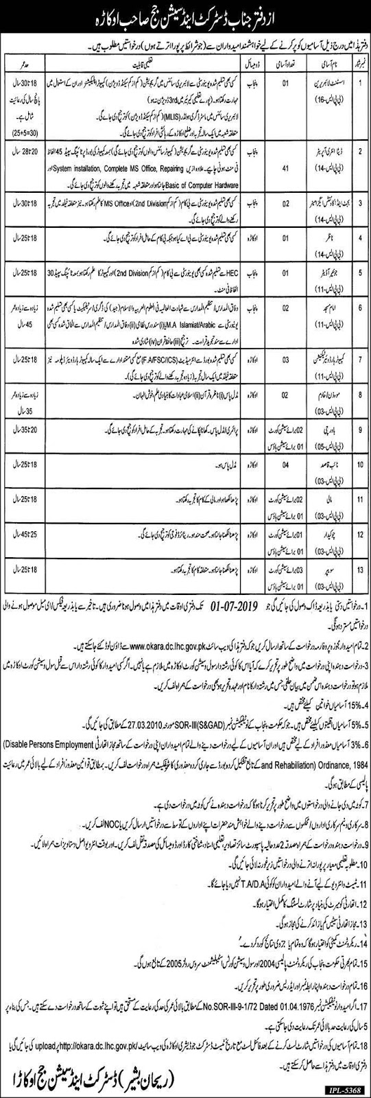 Jobs in District and Session Judge Okara 15 June 2019