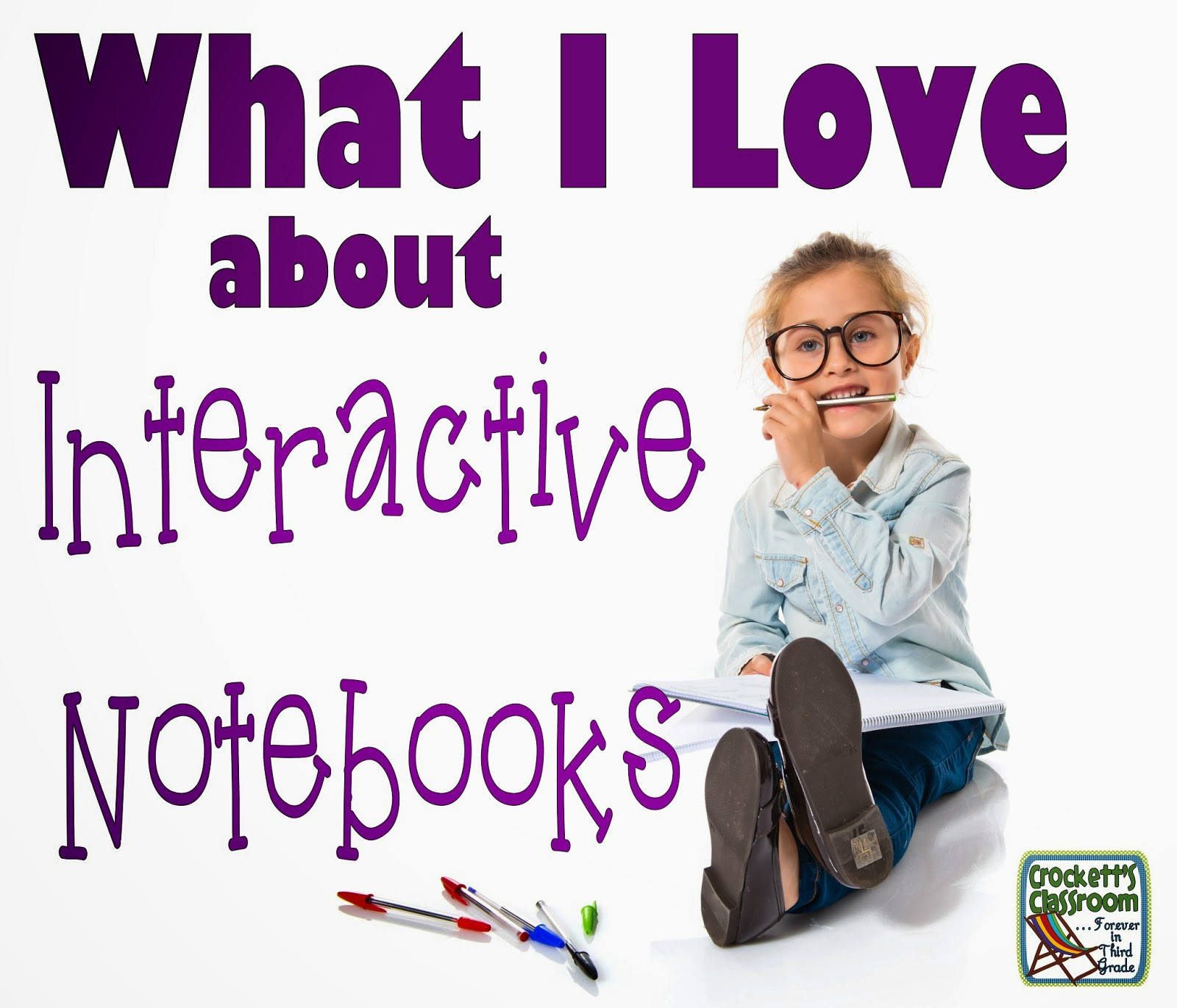 5 reasons to love interactive notebooks, they get students involved, they are a year-long record of student work, students can work on then independently, they get students to show their work and best of all, they're fun!