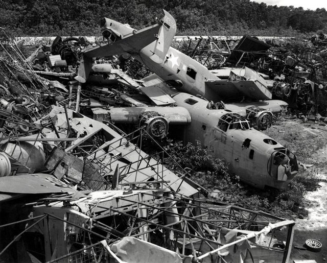 B-24 bombers waiting to be scrapped worldwartwo.filminspector.com