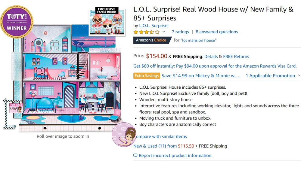 Price of 2019 L.O.L. Surprise Doll House with Block Party characters