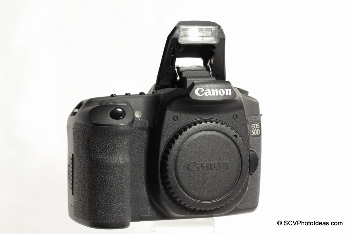Canon EOS 50D Digital Camera on camera flash open