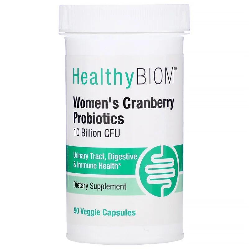 HealthyBiom, Women's Cranberry Probiotics, 10 Billion CFU, 90 Veggie Capsules