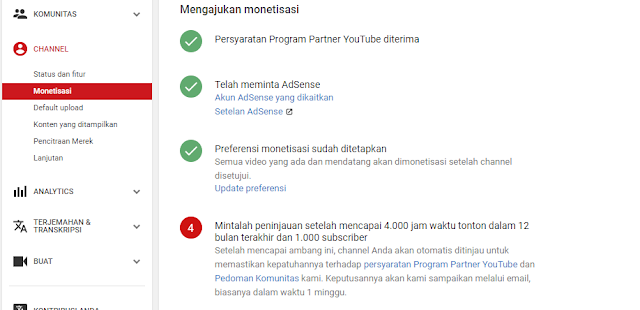 Mengajukan monetisasi di YouTube