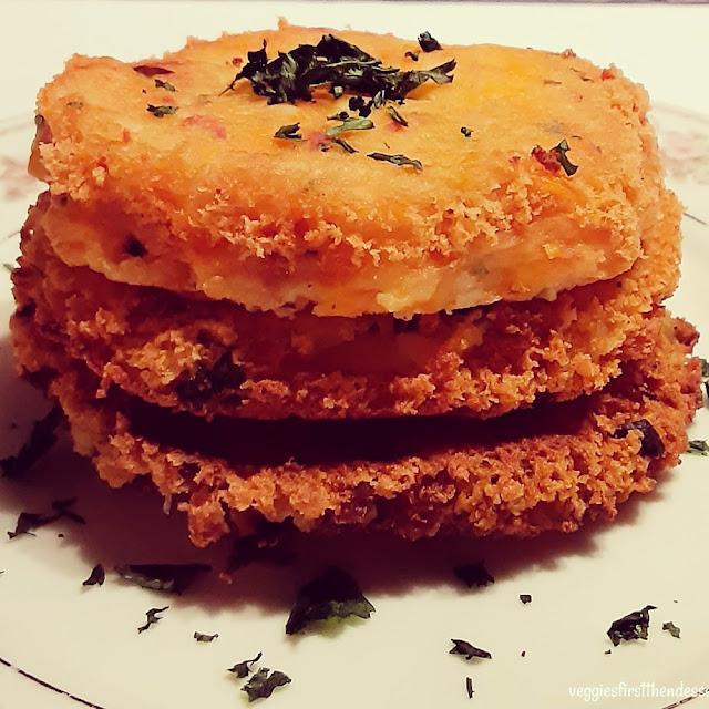 Loaded Mashed Potato Patties: Veggies First Then Dessert