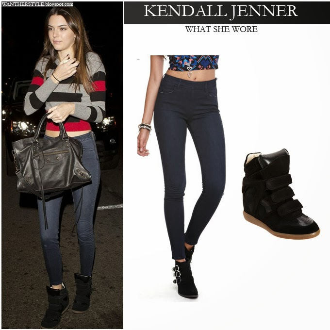 b9bfcd8d8d0 WHAT SHE WORE  Kendall Jenner in stripe top
