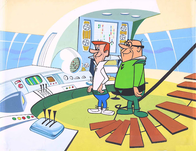 George Jetson and his boss at Spacely Space Sprockets, from the 1962 Hanna Barbera animated television series The Jetsons