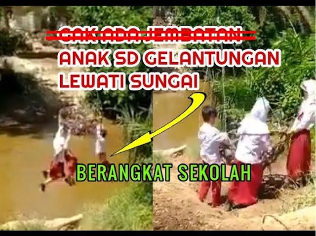 VIRAL.. Siswa Sekolah Bergelantungan Seberangi Sungai di Riau, Ini Cerita Sebenarnya....