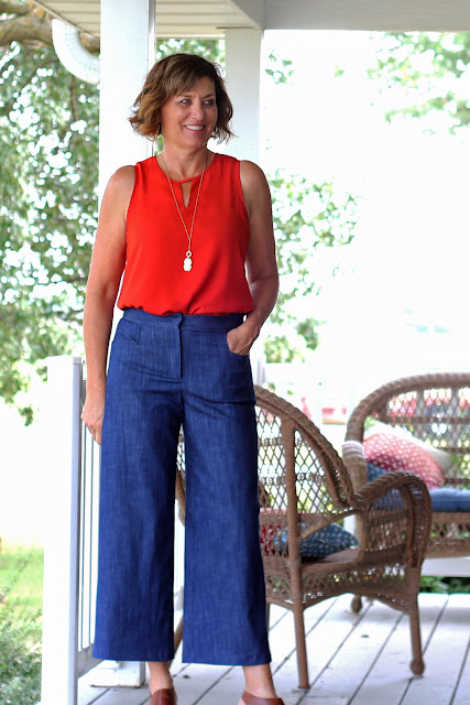 McCall's 7445 wide leg culottes, a Melissa Palmer pattern made in Mood Fabrics' stretch denim