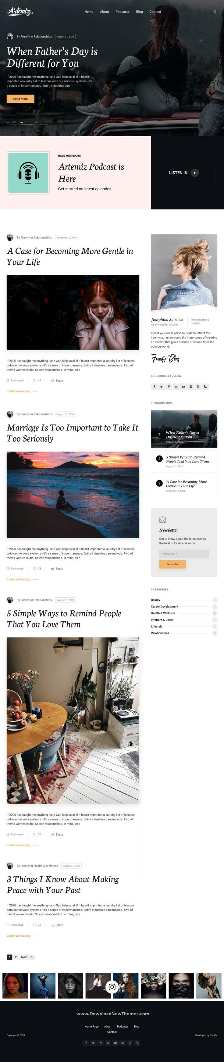 Blog & Podcast WordPress Theme