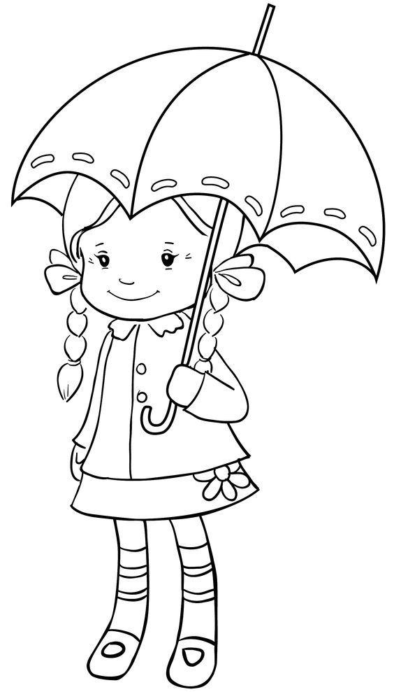Tranh tô màu bé gái cầm ô