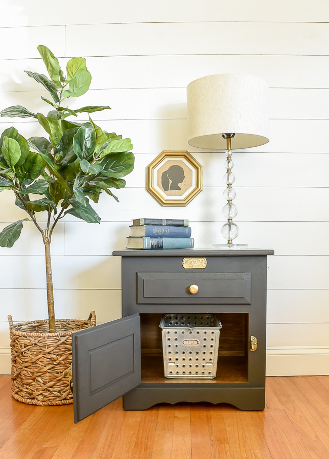 dark gray painted side table makeover