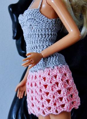 Vestido de crochê para Barbie passo a passo PAP 7