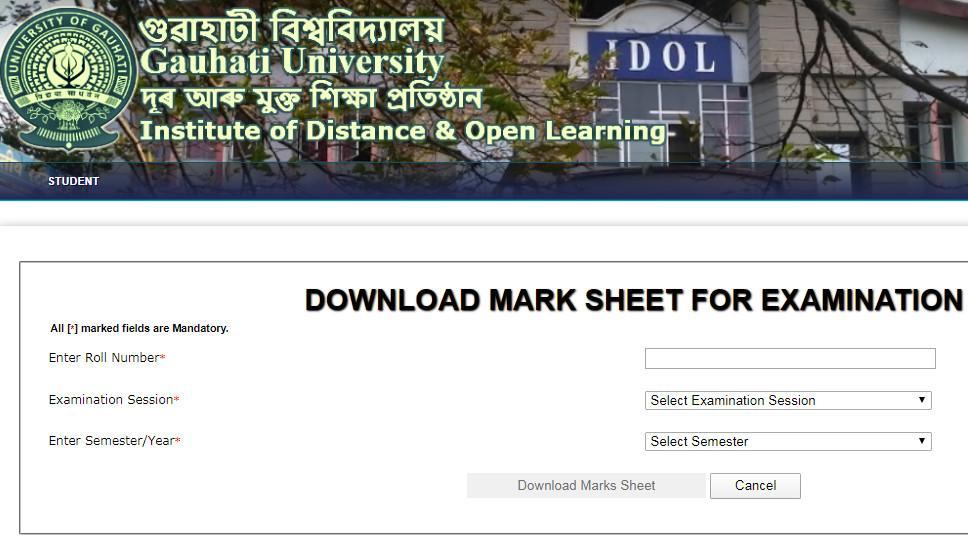 Gauhati University IDOL Result and Marksheet Download