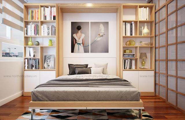 Giường gấp thông minh kết hợp giá sách