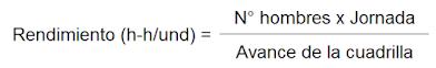 Fórmula de cálculo de rendimiento