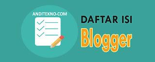 Cara Membuat Daftar Isi Blog di Halaman Blog