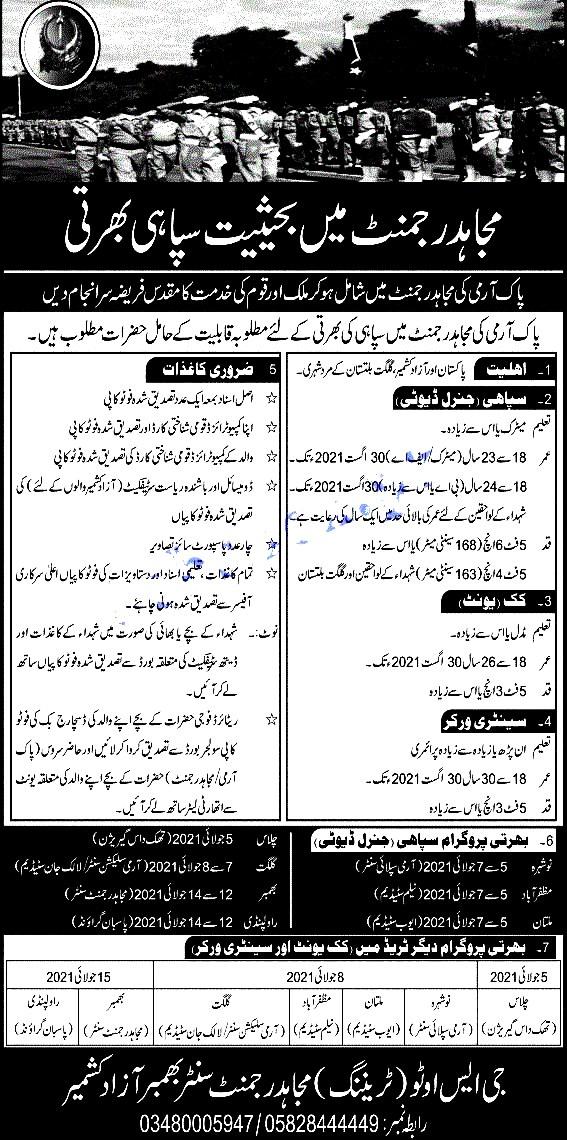 Latest Jobs in Pakistan Army Mujahid Foaarce  June 2021