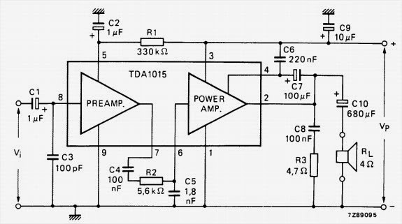 1 to 4 W audio power amplifier ~ AmplifierCircuits.com