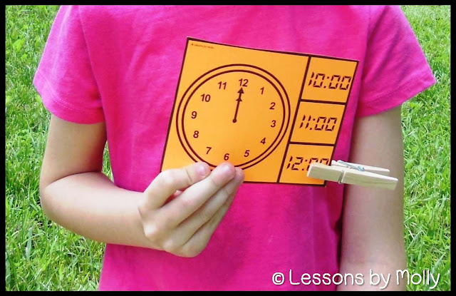 These telling time clip cards are just right for first graders that are learning to read time on analog clocks.  Every hour and half hour is included offering plenty of practice.  Students view the analog clock image on the clip card and find the matching time in digital form.  Four cards print on a single sheet of paper.  A color and black and white version are included.  Additional sets are available that take students to the next level which is to tell time in five minute increments.