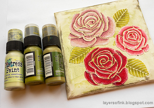 Layers of ink - Mixed Media Rose Canvas Tutorial by Anna-Karin Evaldsson. Paint the leaves.