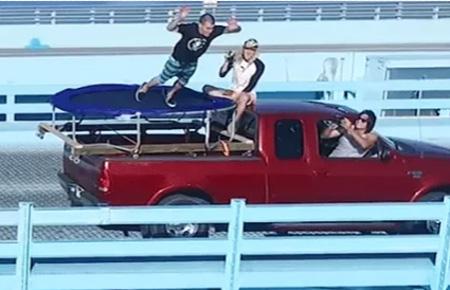Daredevil Steve-O Performs Death Defying Trampoline Bridge Stunt