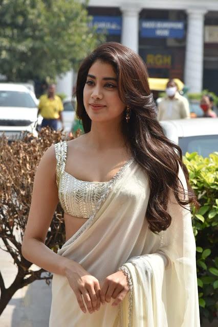 Janhvi Kapoor Flaunts a Sexy Waist in a Sheer White Saree From Manish Malhotra