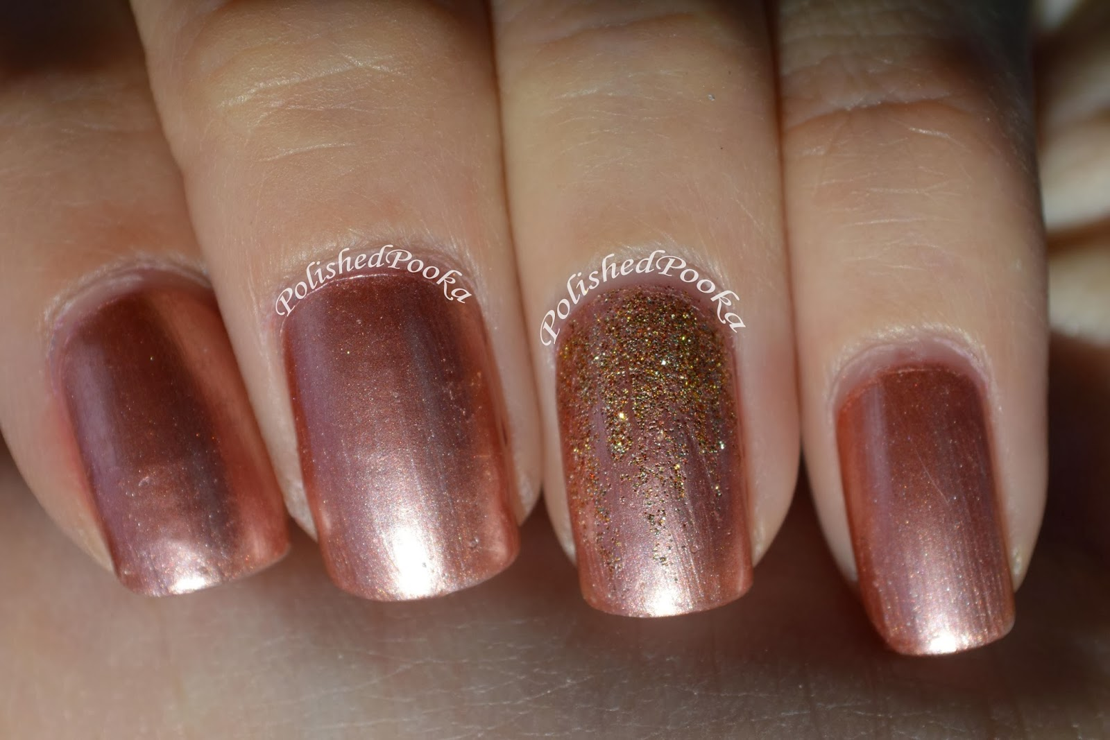 """Polished Pooka: Sally Hansen """"Gold Roses"""" Swatch and Review"""