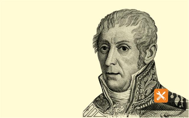Alessandro Volta (1745-1827) dengan uang kertas 10000 Lire dari Italia. Fisikawan Italia terkenal karena pengembangan sel listrik pertama pada 1800.
