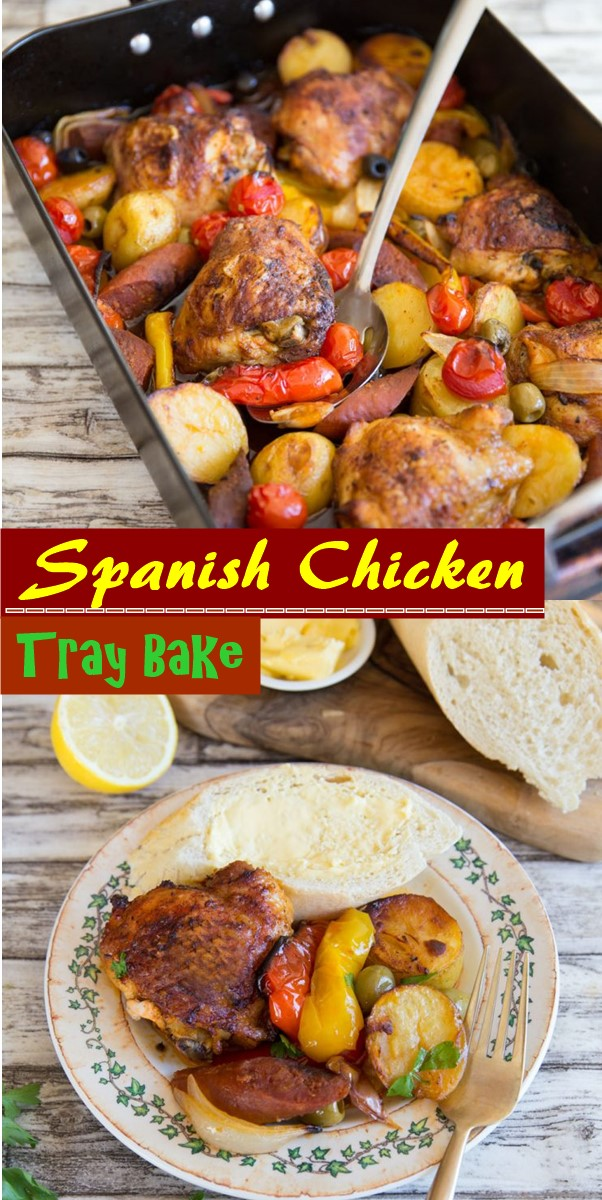 Spanish Chicken Tray Bake #dinnerrecipes