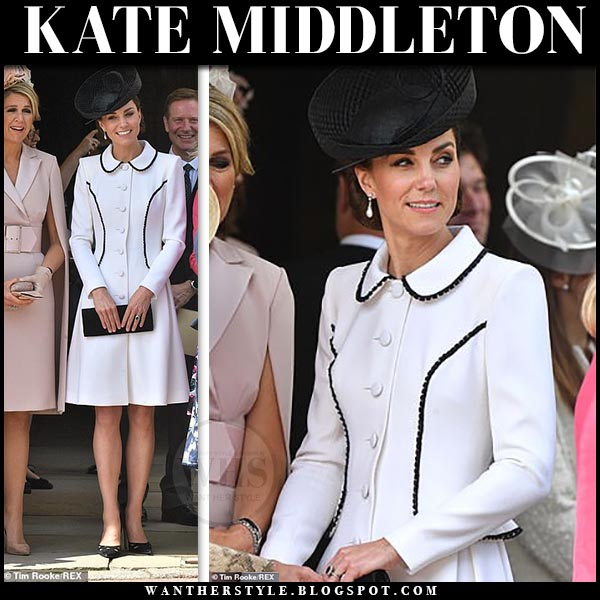Kate Middleton in white coat dress with black detailing and black prada wavy cutout pumps. Windsor Castle duchess of cambridge royal spring summer style