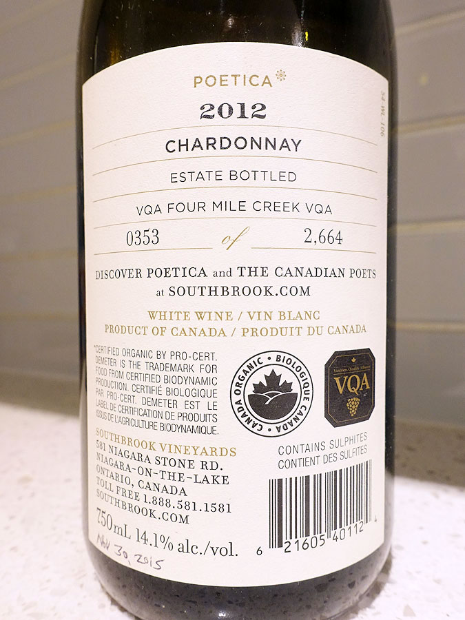 Southbrook Poetica Chardonnay 2012 (92 pts) Back Label