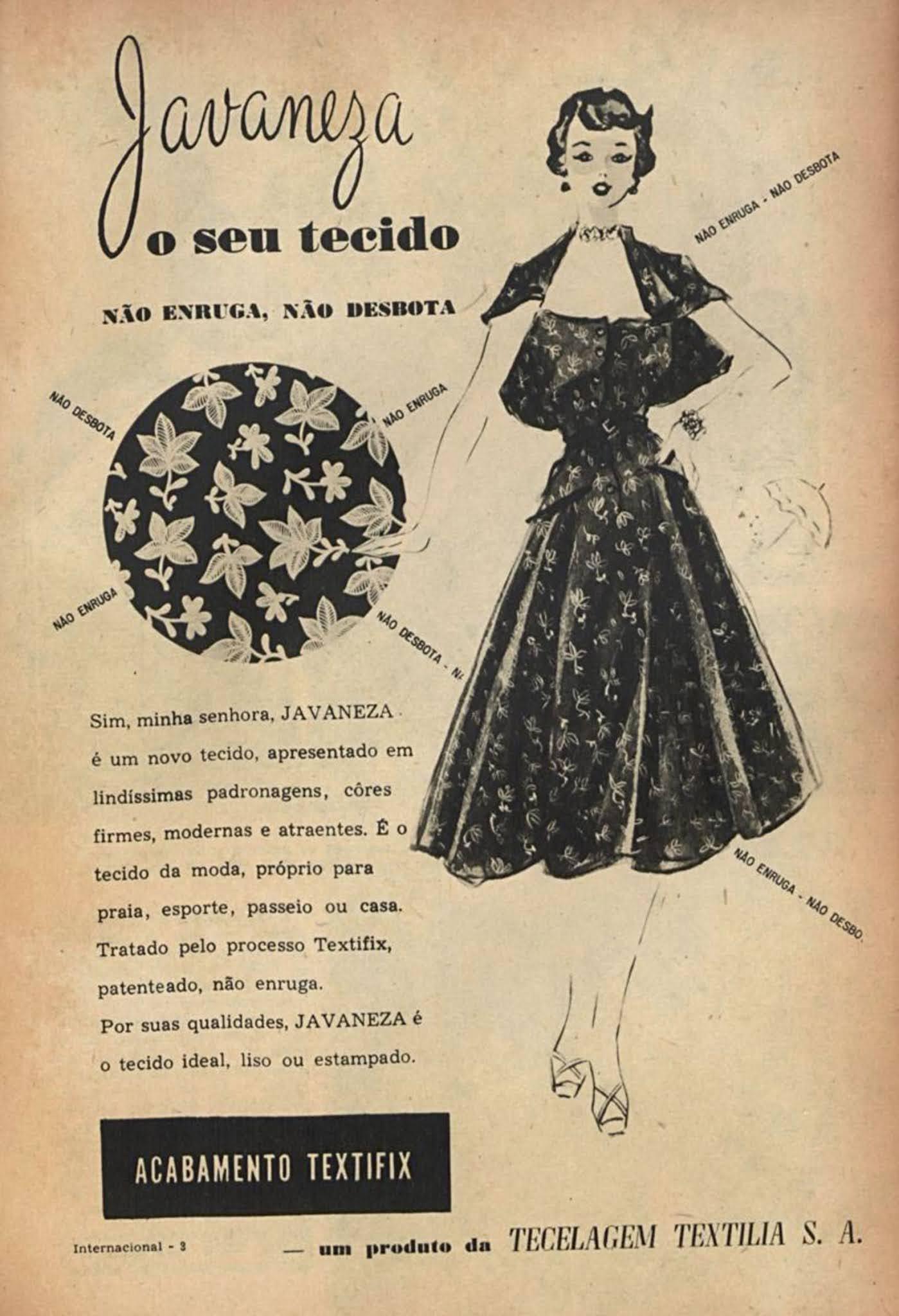 Anúncio de 1951 promovia a qualidade do tecido Javaneza