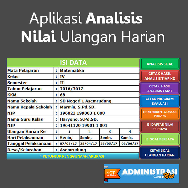 Aplikasi Analisis Nilai Ulangan Harian