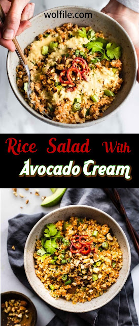 Rice Salad with Avocado Cream Recipe #Salad