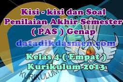 Soal PAS / UKK Kelas 4 Semester 2 Kurikulum 2013