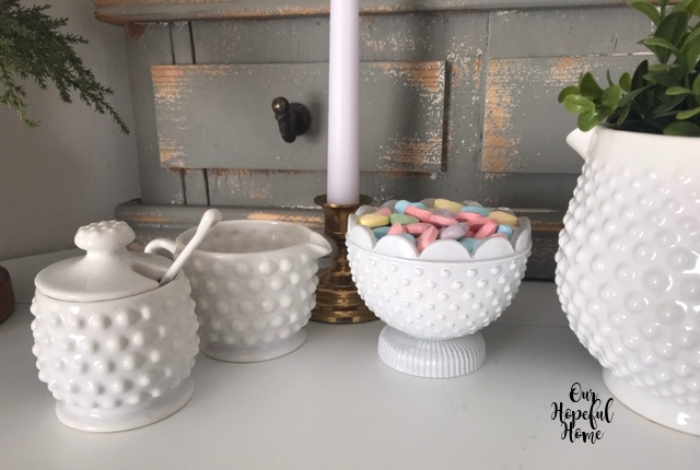 hobnail milk glass sugar bowl creamer pitcher candy bowl
