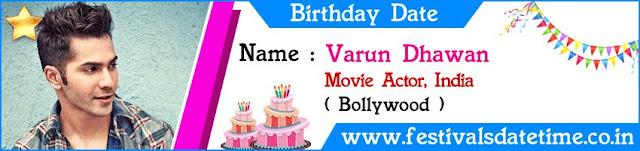 Varun Dhawan Birthday Date
