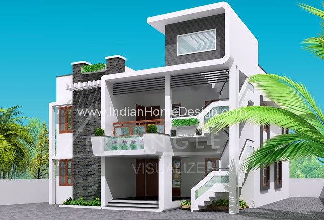 Next Gen Modern House Elevation Design Photo From Triangle Visualizer Team    Indian Home Design,House Plans,Construction,Interior Design,Modular  Kitchen