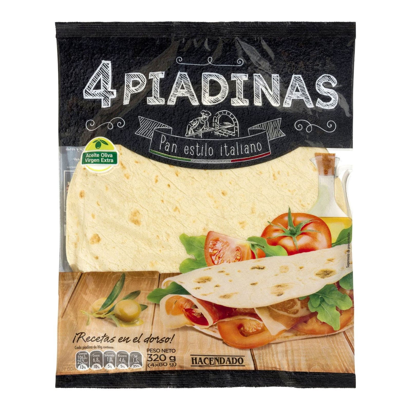 Piadinas pan estilo italiano Hacendado