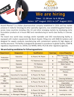 Accord Pharma Recruitment ITI, Diploma, Any Graduates Candidates For Production / Engineering / QC / QA / R&D / Microbiology Departments