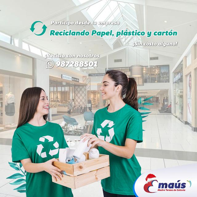 Reciclando papel, plástico y cartón