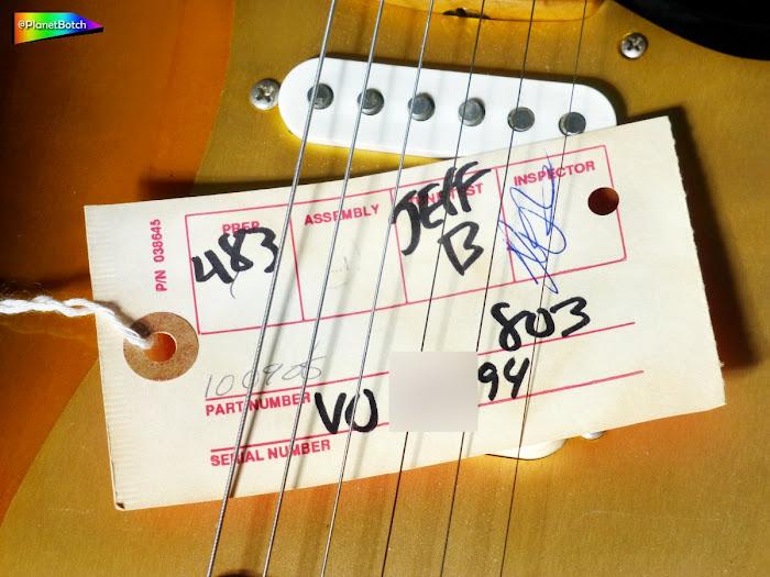 1994 Fender USA '57 Strat Vintage Reissue inspection tag